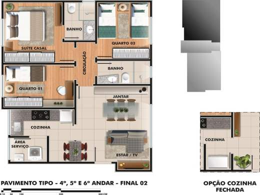 Apto de 2 dormitórios em Sao Lucas, Belo Horizonte - MG